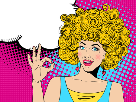 Young sexy happy surprised blonde woman with open mouth shows OK sign and  speech bubble. Vector hand-drawn colorful background in pop art retro comic style.