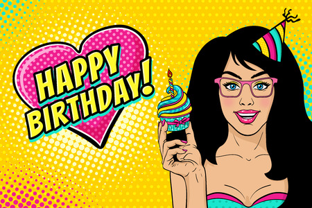 Sexy woman in glasses and birthday cap with long black hair, open smile, bright cupcake in her hand and Happy Birthday speech bubble. Vector background in pop art retro comic style. Party invitation.