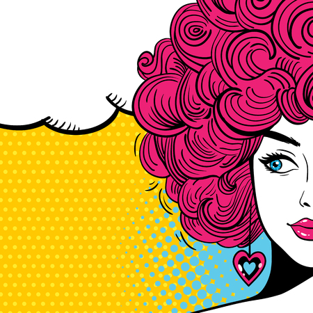 Pop art female face. Sexy woman with curly hair and speech bubble. Vector bright background in pop art retro comic style.