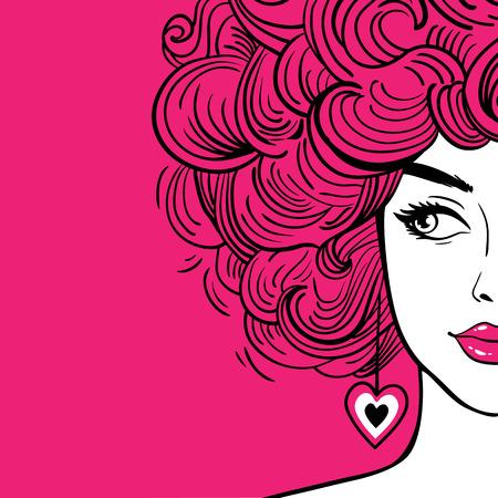 Femme sexy avec des cheveux bouclés roses et des lèvres roses regardant sur le côté. Fond de vecteur dessiné à la main dans un style bande dessinée rétro pop art. Affiche de mode.