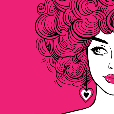 Sexy woman with pink curly hair and pink lips looking to the side. Vector hand drawn background in pop art retro comic style. Fashion poster.