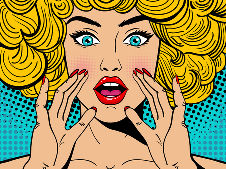 Sexy surprised blonde pop art woman with wide open eyes and mouth and rising hands screaming. Vector background in comic retro pop art style. Party invitation.