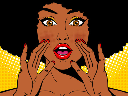 Wow pop art face. Sexy surprised african woman holding her hands open mouth and screaming. Vector colorful background in pop art retro comic style. Party invitation. Vettoriali