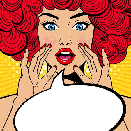 Seksowna zaskoczona kobieta pop-artu z otwartymi ustami, rudymi kręconymi włosami i wznoszącymi się rękami krzyczącą ogłoszenie. Tło wektor w stylu retro pop-art komiks. Zaproszenie na imprezę.