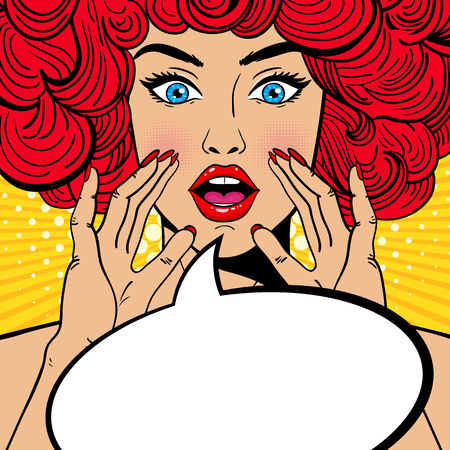 Sexy surprised pop art woman with open mouth, red curly hair and rising hands screaming announcement. Vector background in comic retro pop art style. Party invitation.