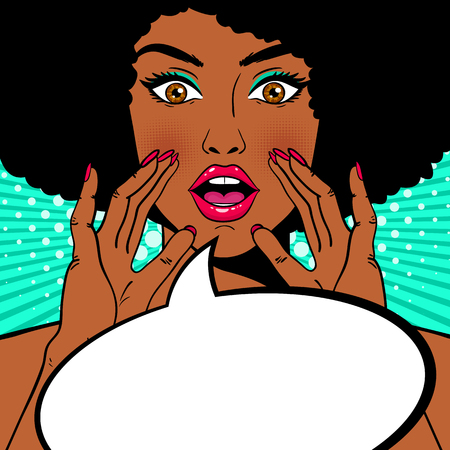 Wow female face. Sexy surprised african american woman holding her hands open mouth and screaming and speech bubble. Vector colorful background in pop art retro comic style. Party invitation. Vettoriali
