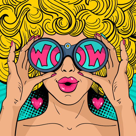 Wow pop art face. Sexy surprised  woman with blonde curly hair and open mouth holding binoculars in her hands with inscription wow in reflection. Vector colorful background in pop art retro comic style. Vettoriali