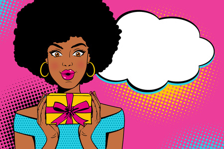 Wow pop art face. Young sexy surprised african american woman with open mouth holding bright gift box and empty speesh bubble. Vector background in retro comic pop art style.