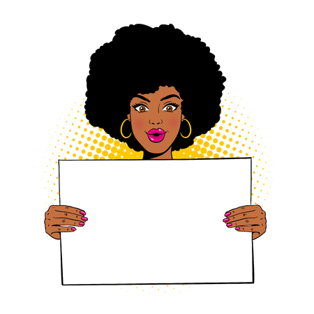 Wow female face. Young sexy surprised african american woman with open mouth holding blank board for your text. Vector illustration in retro comic pop art style isolated on white background.  Vettoriali