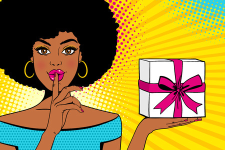 Wow face. Young surprised african american woman with open mouth holding bright gift box in one hand and forefinger at mouth as silence sign. Vector background in retro comic pop art style.