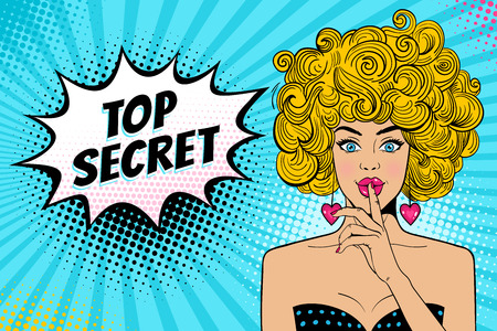Wow face. Young sexy surprised blonde woman with open mouth holding forefinger at the mouth as silence sign, Top Secret speech bubble. Vector background in retro comic pop art style. Invitation poster.