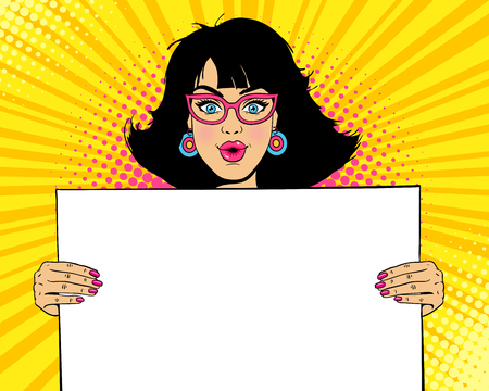 Wow female face. Young sexy surprised woman with open mouth in glasses holding blank board for your text. Vector colorful illustration in retro comic pop art style. Party invitation background.
