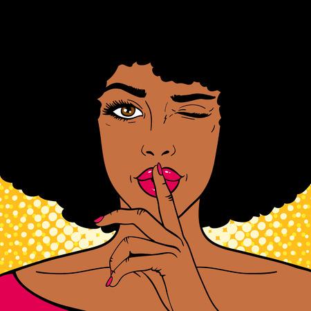 Twarz pop-artu. Młoda Afroamerykanin kobieta trzyma palec wskazujący na ustach jako znak ciszy i mruga na tle kropek. Ilustracja wektorowa w stylu retro komiks. Plakat z zaproszeniem na przyjęcie świąteczne.