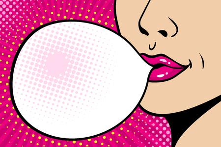 Close-up female face. Sexy pink lips with big gum speech bubble. Vector bright background in comic retro pop art style.