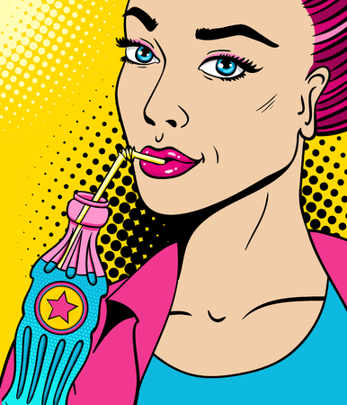 Close-up female face. Sexy pink woman with bottle of soda with drinking straw. Vector bright background in comic retro pop art style.