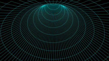 Vector illustration. 3D corridor mesh. Frame tunnel.