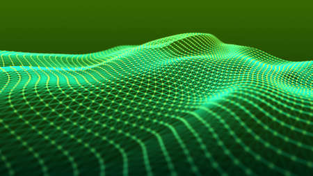 Technology abstract background. Image of the loose waves of points. Big data. 3D rendering