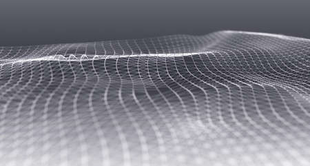 Wave form of dots and lines. Abstract mesh. 3D rendering. 免版税图像