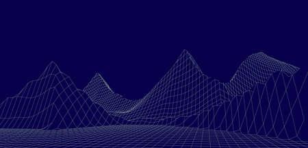 Landscape design of mountains. Wireframe landscape 3d. illustration