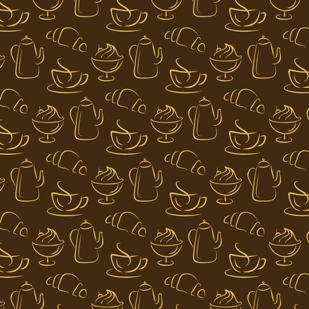 Pattern with coffee and croissant background flat design vector illustration