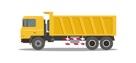Dump truck tipper on white background. Construction specialized transport and lorry