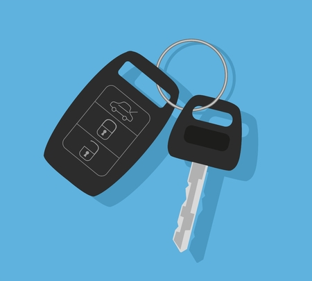 Car key with remote control. Vector illustration
