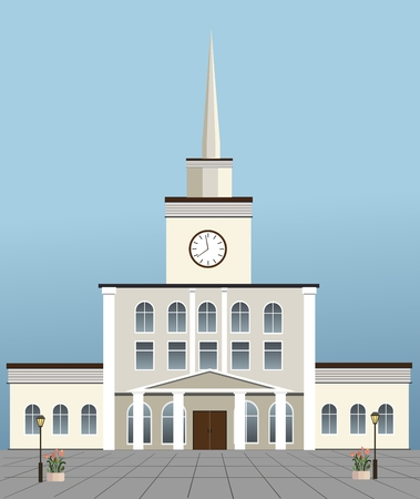 Train station building, vector illustration.