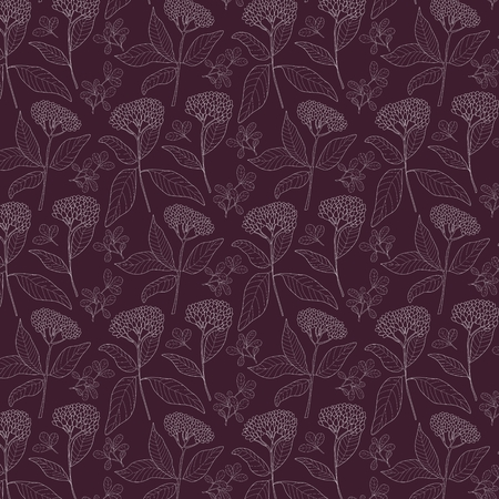 Floral pattern background with plants, vector illustration.