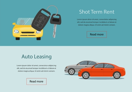 Rental car and Auto leasing banners. Rental concept. Responsive web design. Flat design style concept.