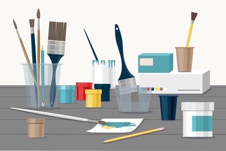 Hobby concept includes paints, brushes, colored pencil, pen, paper in colorful illustration. Ilustração