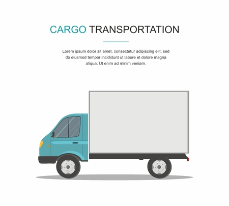 Blue Cargo Delivery Van Isolated on White Background.
