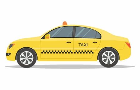 Taxi service Yellow Automobile on White Background