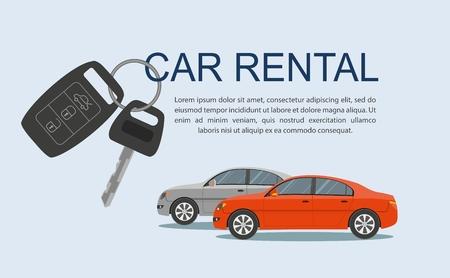 Rental car banners. Rental concept, vector illustration.