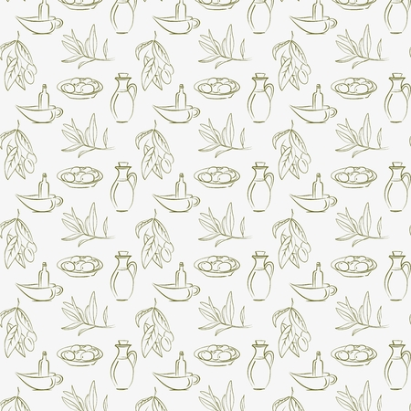 Vector Pattern Background with olive and olive oil Иллюстрация