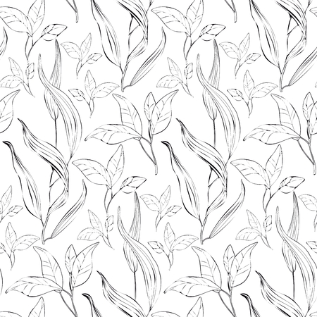 Floral pattern background with plants - Illustration Ilustração