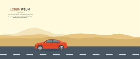 Voiture rouge Conduite sur une route dans le désert Location de voiture et bannière de location auto Banque d'images - 93011905