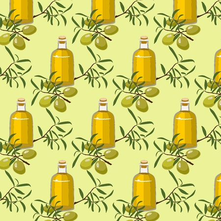 Vector Pattern Background with olive and olive oil Illustration