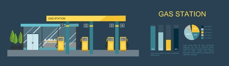Gas filling station. Energy element in flat illustration.