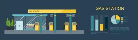 Gas filling station. Energy element in flat illustration.
