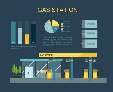 Gas filling station. Energy. Vector flat illustration Çizim