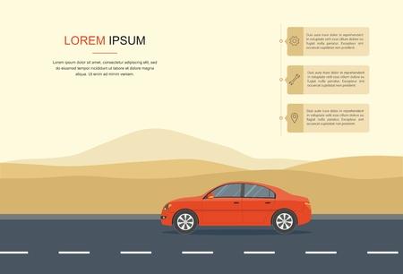 Voiture rouge conduite sur une route dans le désert d'informations, bannière de location voiture et leasing automobile. Banque d'images - 93224082