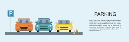 Parking lot design. Park icon.