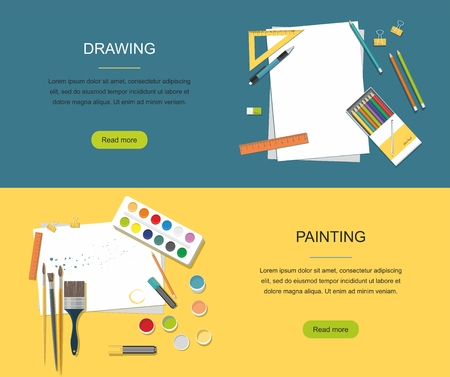 Painting, drawing web banner. Paints,brushes, pencils, back to school icons. Ilustração