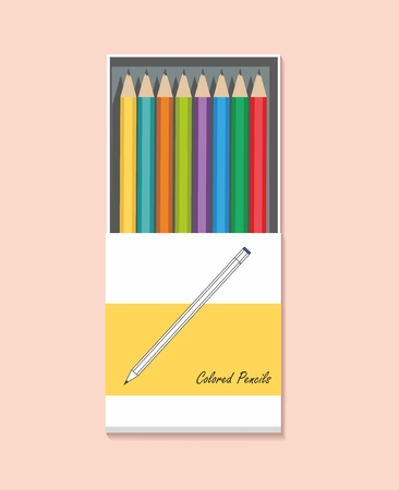 Colored pencils in a box isolated on a pink background Illustration