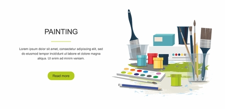 Hobby. Painting web banner. Paints, brushes. Back to school