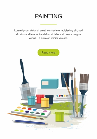 Hobby, painting web banner. Paints, brushes, back to school icons.