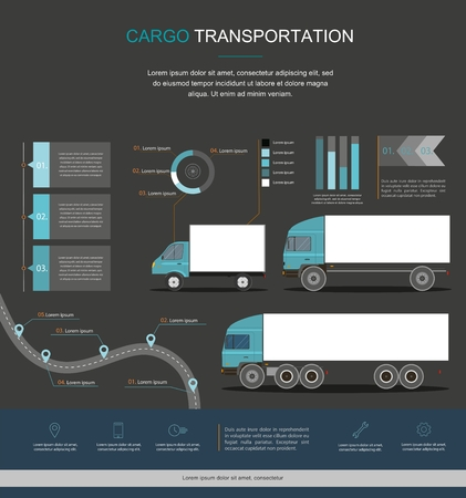 Cargo Logistics service infographic design. Business infographic with transport  イラスト・ベクター素材