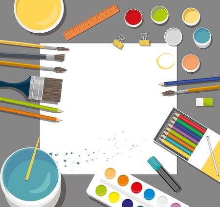 Hobby, paints, brushes, colored pencil, pen, pains, paper, back to school icons. Ilustração