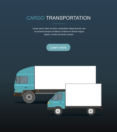 Blue Cargo Delivery Truck Isolated on Dark Background Web Banner