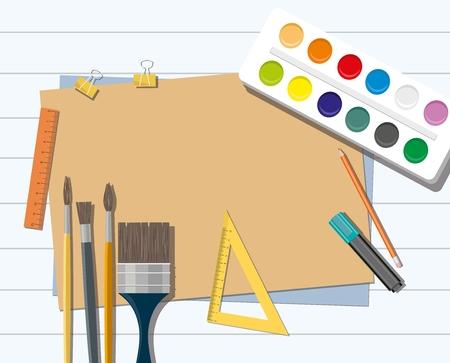 Paints, brushes, pencils, pen, paper. Back to school. Hobby. Ilustração